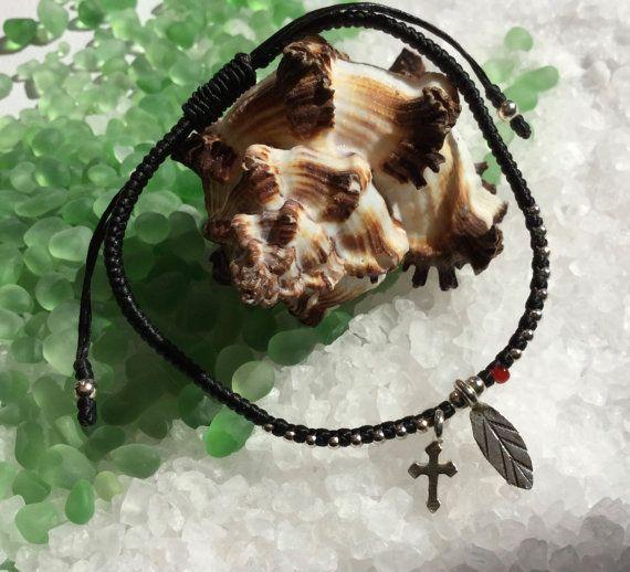 Macrame bracelet/woven bracelet/sterling silver by pearlzsisterz