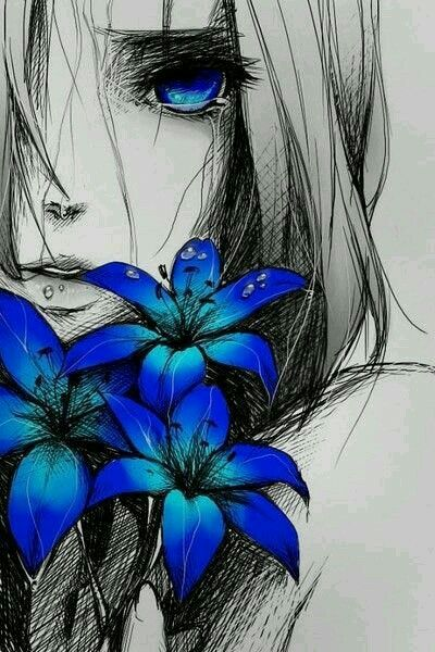 I love the black n white drawing with the bright royal blue colors. It really  makes the drawing pop!