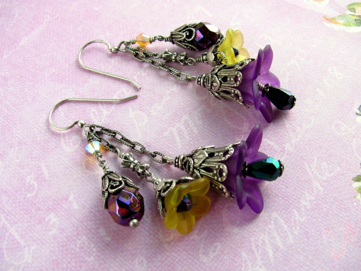 Purple Lucite Flower Earrings - Lucite Flower Earrings Swarovski Crystals Czech Glass Oxidized Silver Bead Cap