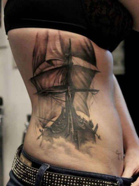 Tattoo Motive Viking Ship  - http://tattootodesign.com/tattoo-motive-viking-ship/  |  #Tattoo, #Tattooed, #Tattoos
