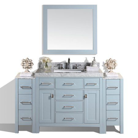 64 inch malibu gray single modern bathroom vanity with 2 side rh za pinterest com