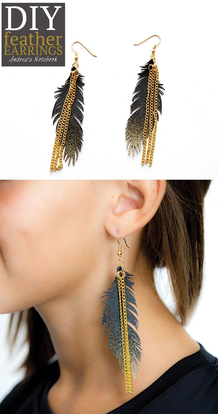 DIY feather earrings - AndreasNotebook.com   #designspacestar #cricutdesignteam13
