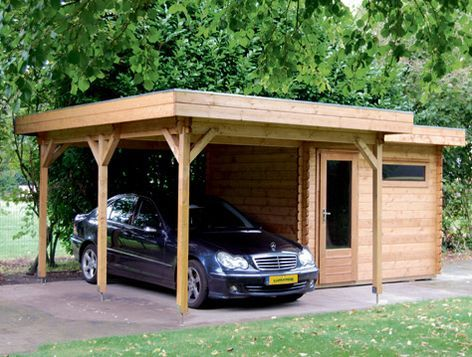 Yes please double w brick posts car port idea for Carport shop combo