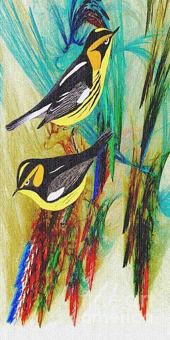 Two pretty Blackburnian Warblers digital oil painting...