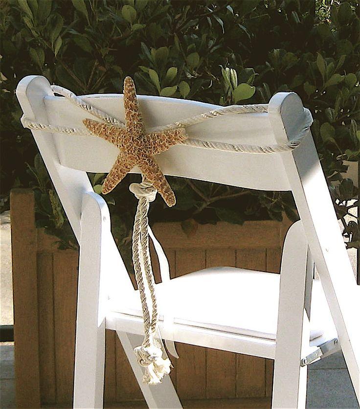 Love this natural wedding decor! Beach Weddings - Natural Starfish Chair Decoration via Etsy.