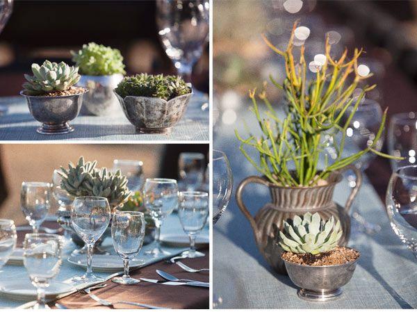 succulents & vintage silver: Succulents Vintage, Silver Centerpieces, Google Search, Vintage Metals, Green Centerpieces, Vintage Gardens, Succulents Centerpieces, Vintage Silver, Wedding Centerpieces