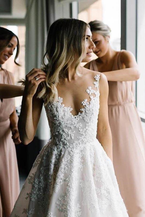 A-line Vintage Lace Wedding Gowns Illusion Neck Wedding Dresses Lace Wedding Dre…