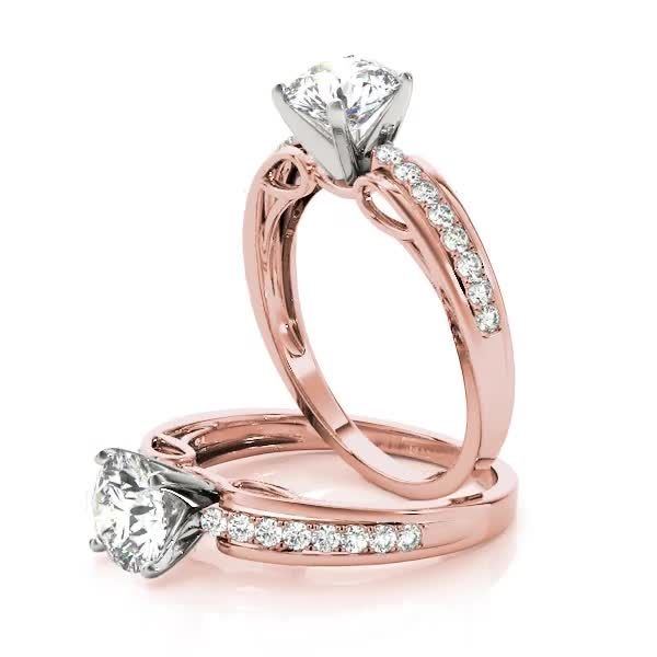 Engagement Ring Diamond Cathedral Bridal Set In Rose Gold Bs10rgbs In 2020 Classic Diamond Engagement Ring Classic Engagement Rings Scroll Engagement Ring