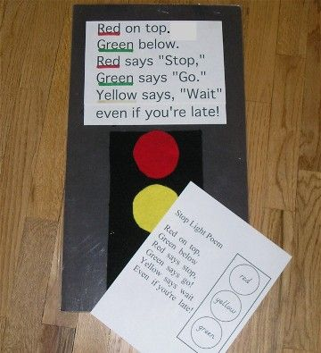 traffic light poem with printable
