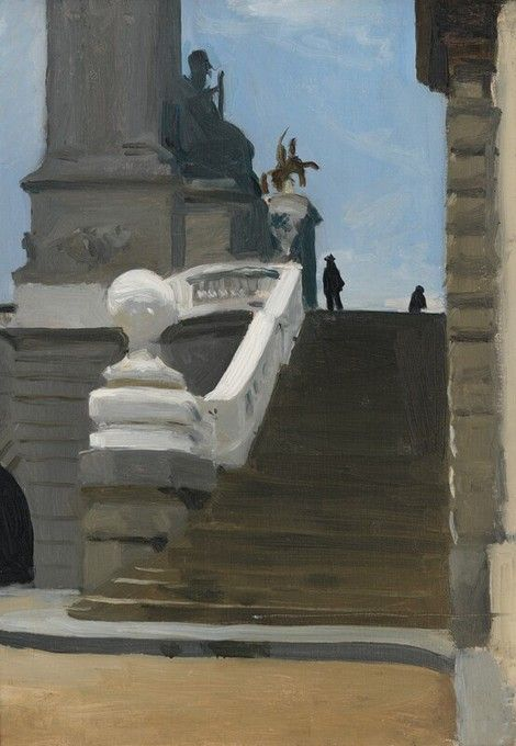 Edward Hopper, Two Figures at Top of Steps in Paris, 1906