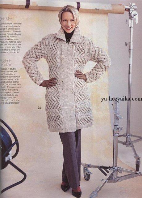 Пальто красивой вязкой