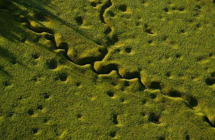 Trench lines, artillery shell craters. Amazing shot. > The Somme, Northern France (Michael St. Maur Sheil)