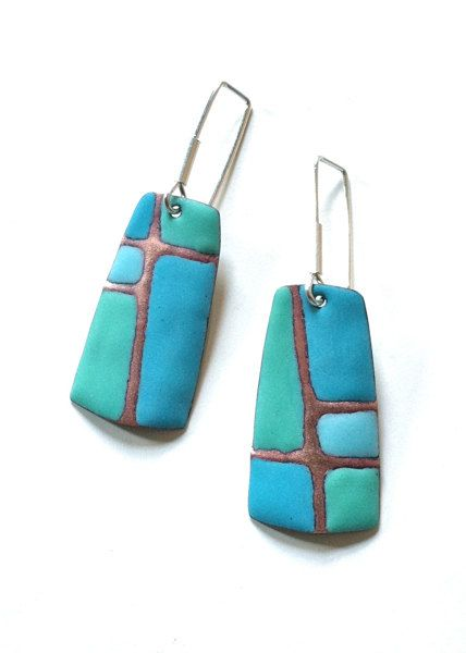 Patchwork Series Earrings in Sapphire Blue and Mint Greenby etsy artist Angela Gerhard