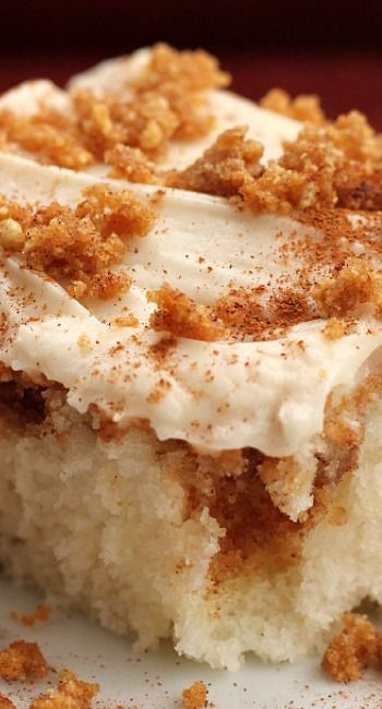 Cinnamon Swirl Cake -- 1 white cake mix, prepared as directed on box 1 tsp. cinnamon 1 1/2 c. graham cracker crumbs 1/2 c. butter, melted 1/2 c. brown sugar Cream Cheese Frosting 1 pkg. (8 oz.) cream cheese, softened 1/4 c. butter, softened 1 tsp. vanilla 1 to 1 1/2 lbs. powdered sugar