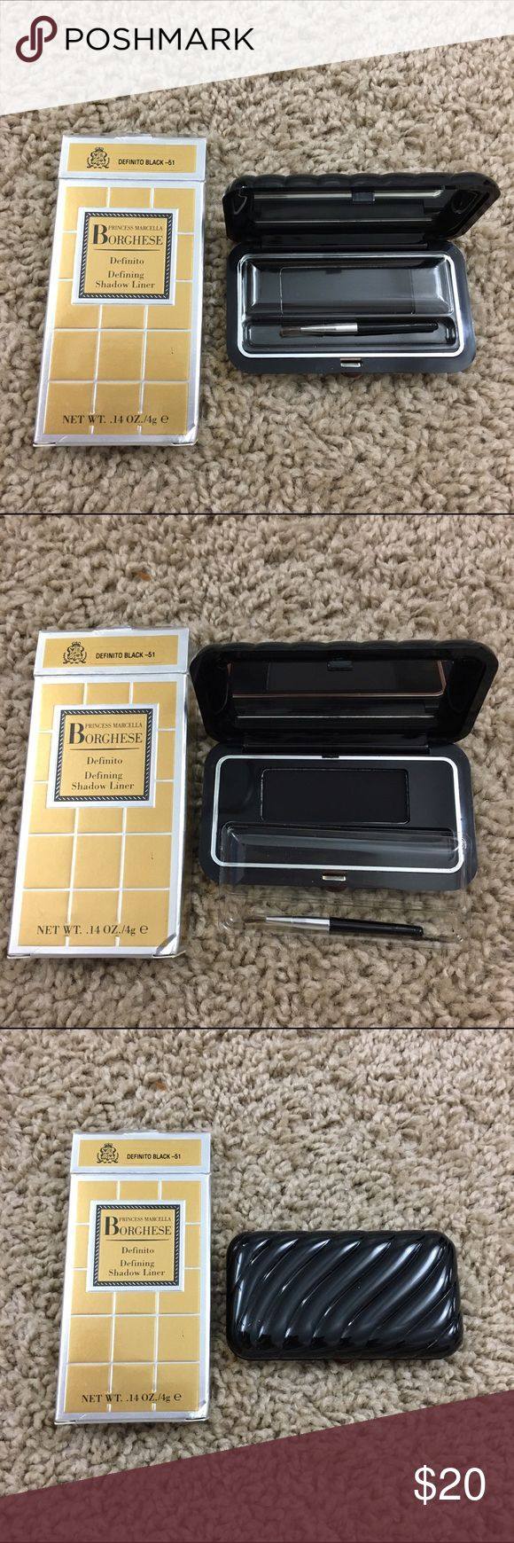 ✨NIB- Borghese Defining Shadow Liner✨ Authentic! Brand new, never used! Princess Marcella Borghese black eyeshadow that doubles as an eyeliner. Fashionable compact comes with mirror and small liner brush so you can take it on the go!  Color: Definito Black - 5 Borghese Makeup Eyeliner
