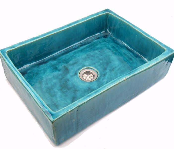 Awesome Turquoise washbasin overtop sink unusual washstand by Dekornia