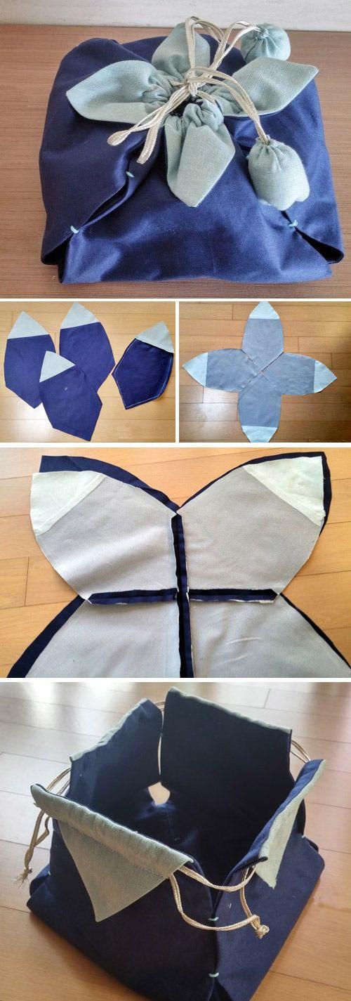 Petal drawstring bag tutorial, by hand sewing DIY  http://www.handmadiya.com/2016/10/petal-drawstring-bag.html