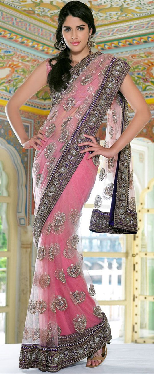 beautiful baby pink, embroidered net #saree ~