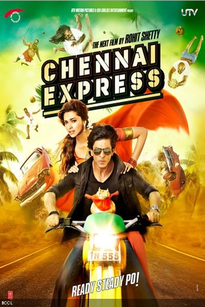 Shah Rukh Khan and Deepika Padukone in the poster of Bollywood movie 'Chennai Express'.