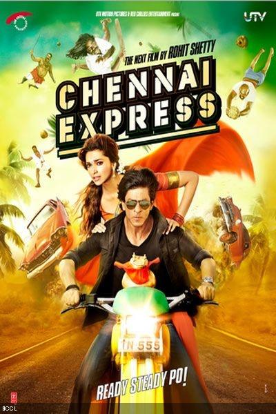 Shah Rukh Khan and Deepika Padukone in the poster of Bollywood movie 'Chennai Express'.