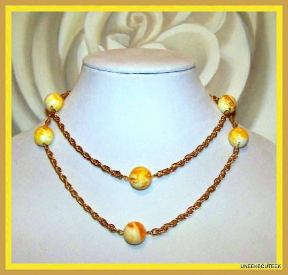 GOLD Rope Chain & Amber CREAMSICLE Necklace   Elegant - 14k Gold Plated  Extra Long Strand Necklace  by TheUneekBouteek,