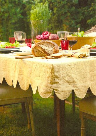 I want a tailored tablecloth. Makes me feel like it's not going to go sliding right off the table.