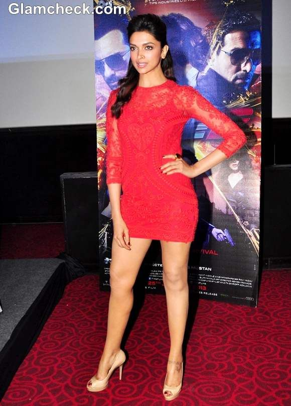 Deepika padukone hot in a red lace mini dress minis dresses lace