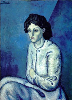 "Pablo Picasso, ""Chanel in blue"" - The Blue Period (Spanish: Período Azul) is a term used to define the works produced by Spanish painter Pablo Picasso between 1901 and 1904 when he painted essentially monochromatic paintings in shades of blue and blue-green, only occasionally warmed by other colors. These somber works, inspired by Spain and painted in Barcelona and Paris, are now some of his most popular works, although he had difficulty selling them at the time."