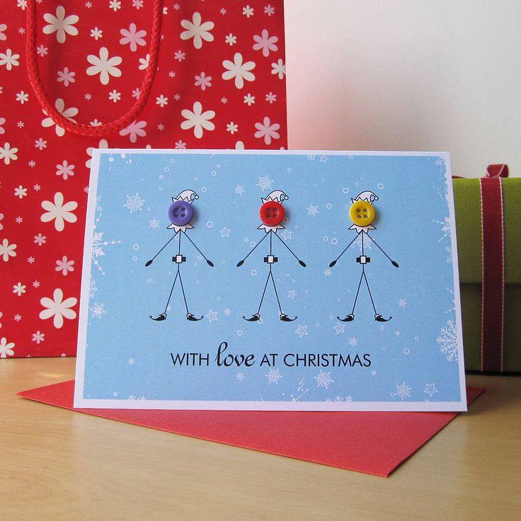 Button Elf Christmas Card