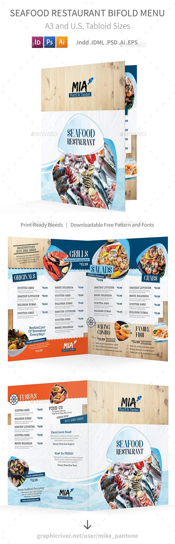 Seafood Restaurant Bifold / Halffold Menu 3 #fish #Fine Dining • Download ➝ https://graphicriver.net/item/seafood-restaurant-bifold-halffold-menu-3/21252810?ref=pxcr
