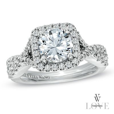 ♡♥♡ Vera Wang LOVE Collection 2-1/5 CT. T.W. Diamond Frame Engagement Ring in 14K White Gold - Zales