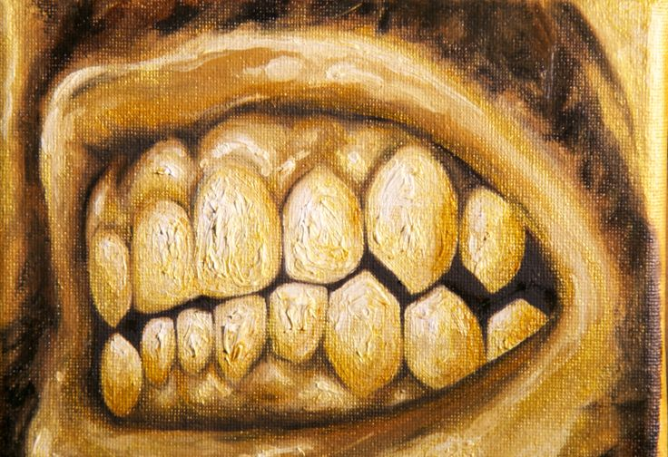 """""""The Naked Lunch"""" (detail) #installation composed of one graphite #drawing  one #oilpainting and six muzzles painted in #golden #giuseppealletto  #contemporaryart #art #artgallery #museum #painting #surrealism #hyperrealism #nofilter #teeth #sicily #sicilian #italianartist #italy #alletto #scaladeiturchi #scaladeiturchiwhitewall #whitewall #color #agrigento"""