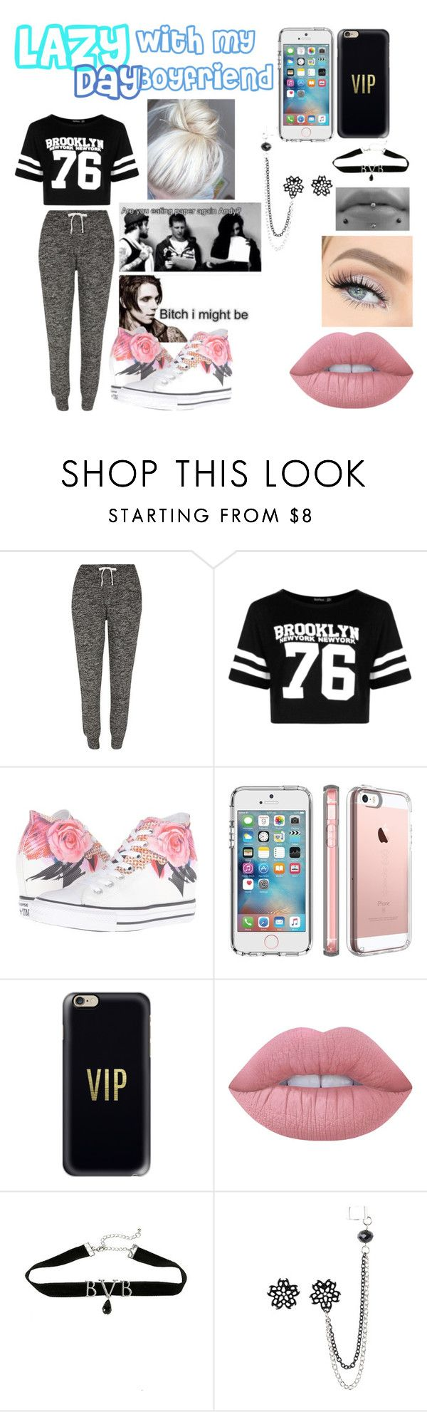 Untitled #11 by kenzie-motionless on Polyvore featuring Boohoo, River Island, Converse, Speck, Casetify and Lime Crime