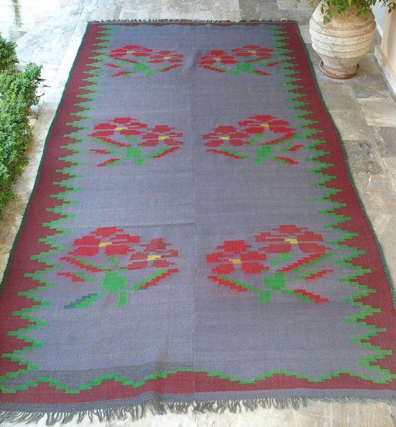 Grey Floral Antique Kilim Rug, Greek Handwoven Large Area Carpet by VintageHomeStories,