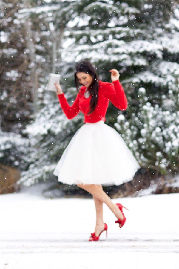 tulle skirt & red top. SO festive.