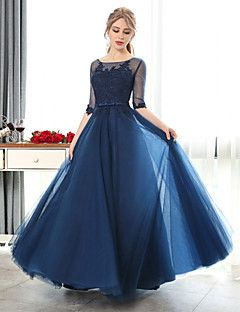 Formal+Evening+Dress+A-line+Scoop+Floor-length+Lace+/+Tulle+with+Lace+–+USD+$+89.99
