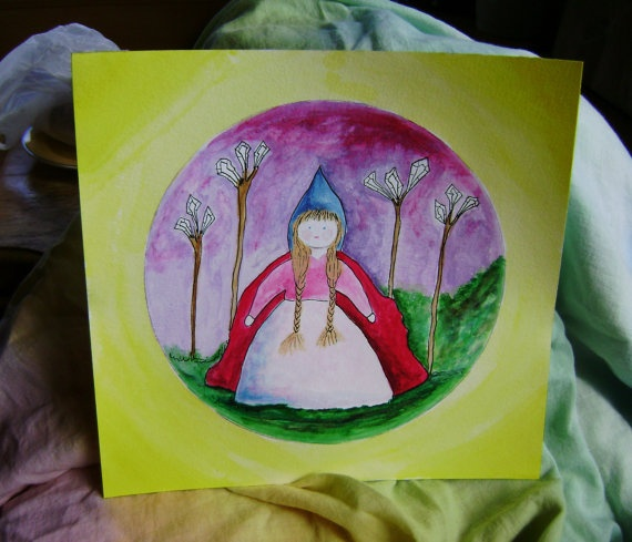 An original Waldorf  Inspired painting  Walking in by softearthart, $30.00
