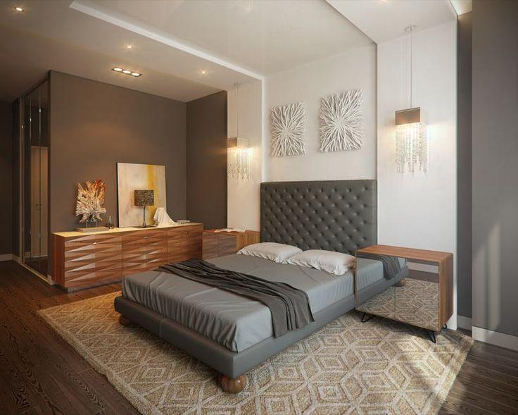 Elegáns hálószoba barna, szürke és fehér színekkel