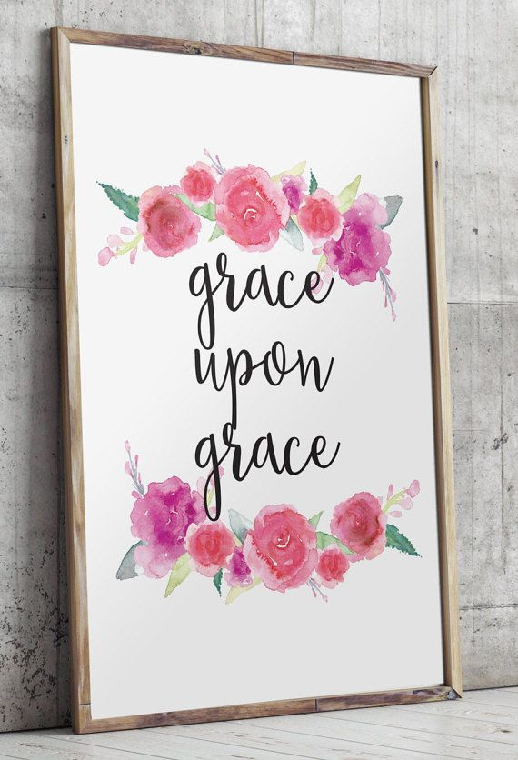 Grace Upon Grace Nursery Bible verses wall by TwoBrushesDesigns #nurserydecor