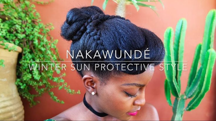 How to: Natural Hair Winter Sun Protective Style + Easy Chignon | Nakawunde - YouTube