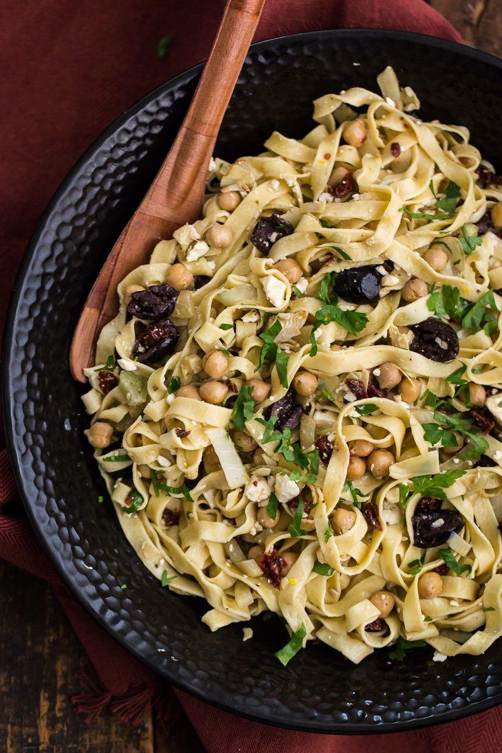 Mediterranean Einkorn Pasta | @naturallyella  use gluten free pasta an dvena like quinoa pasta and uese vegan cheese