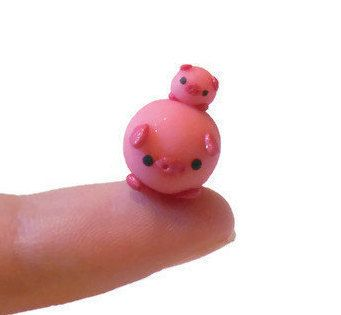 Small mother and baby pig clay sculpture by TrufflesAndTrinkets