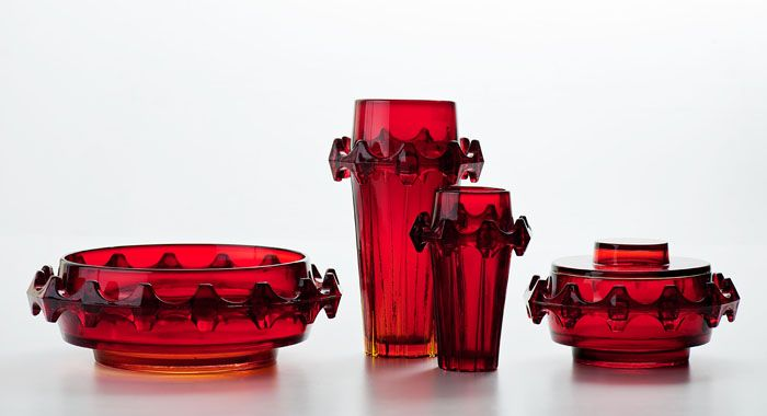 "Eryka and Jan Drostowie, ""Diatret"", applied glass set, designed by Jan ..."