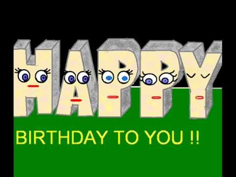 Happy Birthday funny animation - letters singing.