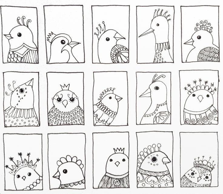 Bird 216 - third row of bird doodles added. By JG