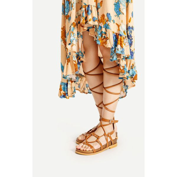Caged Lace Up Gladiator Sandals (£32) ❤ liked on Polyvore featuring shoes, sandals, caged lace up sandals, peeptoe shoes, cage sandals, peep toe gladiator sandals and gladiator sandal