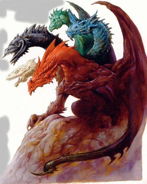 Tiamat - a monstrous five headed dragon.