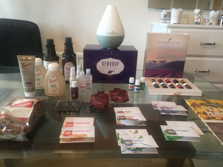 My Premium Starter Kit with DewDrop diffuser + my Essential rewards Thieves kit + free goodies from Young Living (I have exceeded 200PV) - Thyme + 5ml and Einkorn Pasta! 😍🌿💧Love ER!