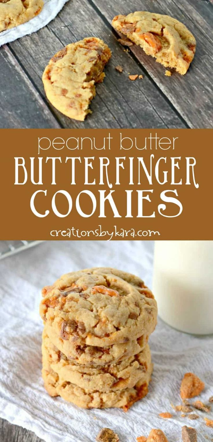 Peanut Butter Butterfinger Cookies - peanut butter cookies loaded with chunks of Butterfinger candy bars. Perfect for peanut butter lovers! #peanutbutterlover #peanutbuttercookies #butterfingercookies #cookies