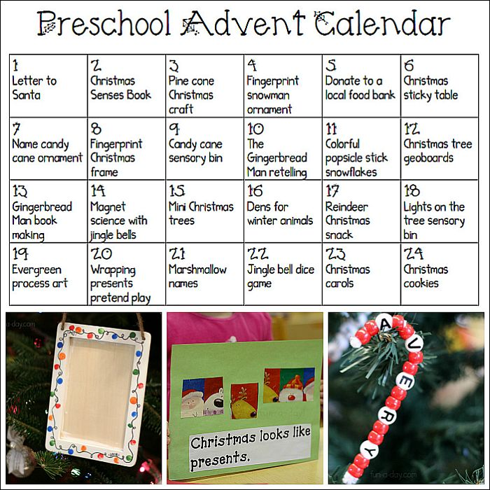Printable Advent Calendar for Preschoolers - links to fun art, sensory, snack, and science ideas for each day before Christmas